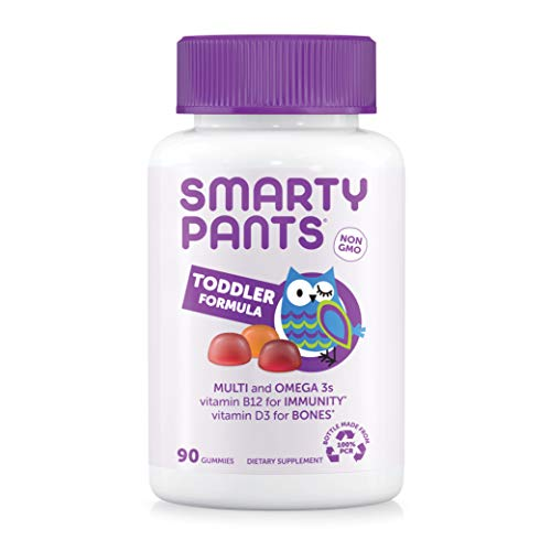 SmartyPants Toddler Formula Daily Gummy Multivitamin: Vitamin C, D3, & Zinc for Immunity, Gluten Free, Omega 3 Fish Oil (DHA/EPA), , Vitamin B6, Methyl B12, 90 Count (30 Day Supply)