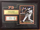 Barry Bonds 73Rd Home Run Record Unused Full Ticket Framed Autographed Signed 10/7/01 - Authentic Memorabilia