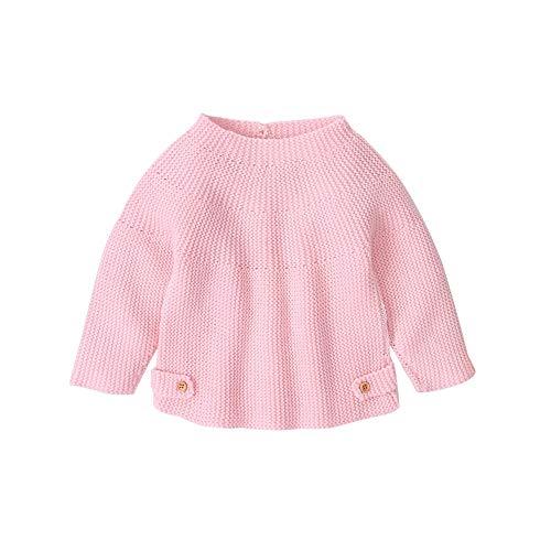 Glücklicher Käufer Säugling Baby Strickjacke mit Langen Ärmeln Button-up Mäntel Top Mädchen Jungen Strickpullover Rosa 0-18 Monate (X-Pink, 3-6 Monate)