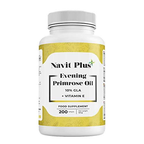 Aceite de Onagra 10% GLA + Vitamina E NAVIT PLUS   200 perlas para reducir el dolor menstrual, síntomas de la menopausia y mejorar el equilibrio hormonal   fortalece huesos, uñas y piel   Fab Esp.