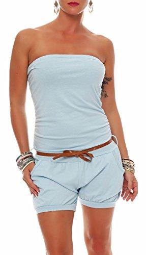 Malito Damen Einteiler kurz in Unifarben | Overall mit Gürtel | schicker Jumpsuit | Romper - Playsuit - Hosenanzug 8964 (hellblau)