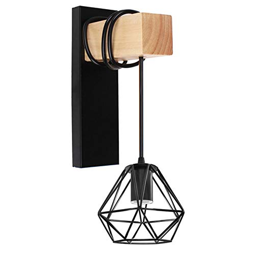 DAXGD - Aplique de pared con brazo de madera moderna, jaula de hierro, E27, lámpara de pared retro, lámpara interior para dormitorio, bar, cafetería, tienda, decoración del hogar