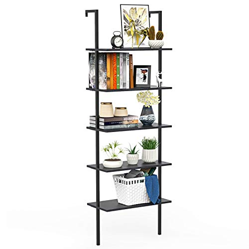 Ladder Shelf Bookshelf, 5 Tier Wall-Mounted Industrial Ladder Bookcase Wood Look Plant Flower Storage Stand Organizer Utility Storage Rack for Living Room, Kitchen, Office (Black Walnut)
