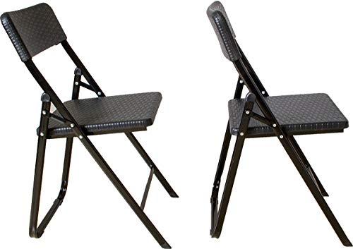 Beach & Pool Klappstuhl 2er Set Stühle, schwarz Rattan-Optik, Campingstuhl, Gartenstuhl, Balkonstuhl, Kunststoff