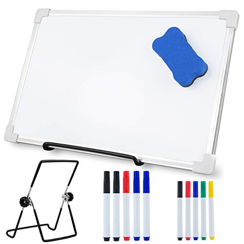 A4 Mini Small Whiteboard Pack with 10 Pens Magnetic Eraser Desk Holder Stand Touch Fastener