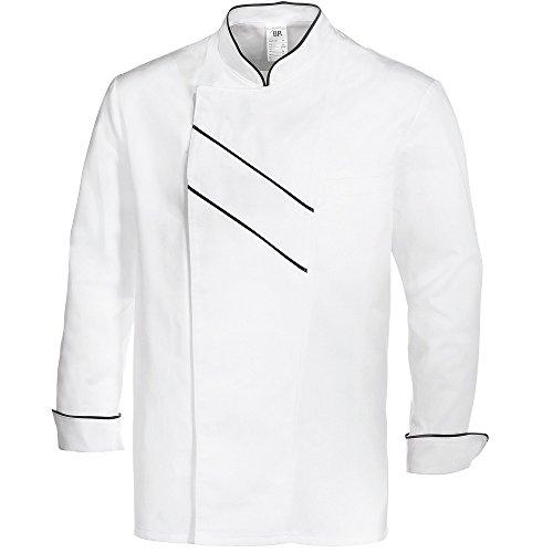 BP 1538-400-2132-52 Kochjacke, Lange Ärmel mit Manschetten, 215,00 g/m² Stoffmischung, weiß/schwarz ,52