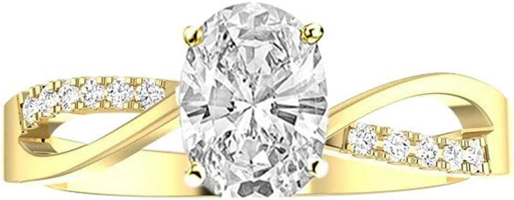 2.08 Ctw 14K White Gold Dainty Twisting Shank Max 62% OFF Split GIA Elegant Cheap super special price