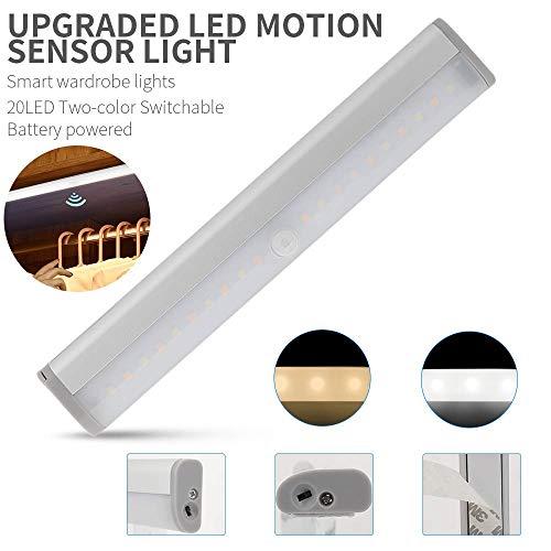 TreeLeaff - Luces LED de cocina con sensor de movimiento debajo del gabinete, luz blanca y cálida, funciona con pilas, luces LED para armarios, paredes, armarios, escaleras, armario