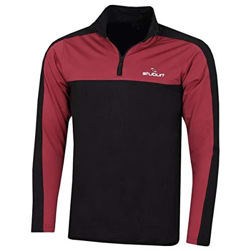 Stuburt Golf 2019 Herren Evolve Sport Mid Layer 1/4 Zip Windproof Golf Sweater Black/Burgundy Medium