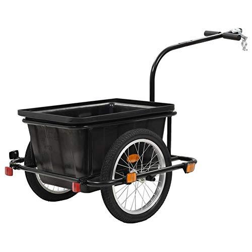 lahomie- Carro de mano de transporte, remolque de bicicleta para transporte de mercancías, negro, 50 l