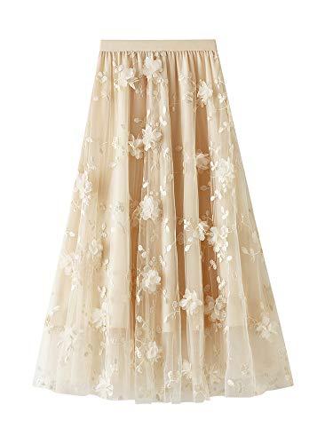 Dazzerake Falda Larga de Tul Elegante para Mujer Falda Longuette Cintura Alta Casual con Bordado Floral 3D Color Sólido Falda Midi Diseño de Moda (Albaricoque, Talla Única)