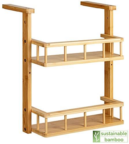 Green'n'Modern Hängeregal für die Küche | Kühlschrankregal Küchenregal hängend aus Holz Bambus | Gewürzregal kompakt für Studenten