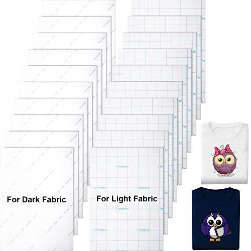 20 Stücke Bedruckbares Hitze Transferpapier Stoffübertragung Transferfolie für Dunkle und Helle Stoffe, Tintenstrahldrucker Bügeleisen auf HTV, Eigenes T-Shirt, Größe A4