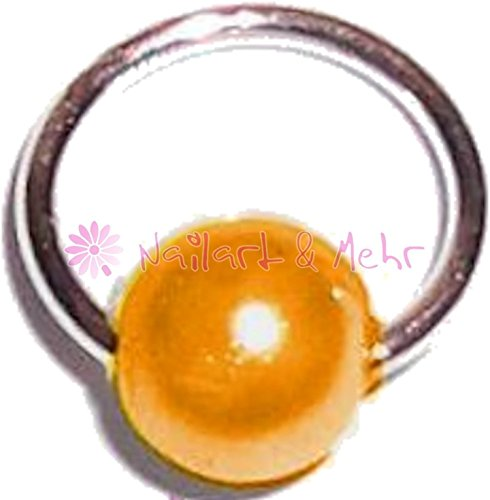 Fingernagel-/Nailart Piercing-Ring STERLING-SILBER, 6mm, Perle: ORANGE, #NP-087G