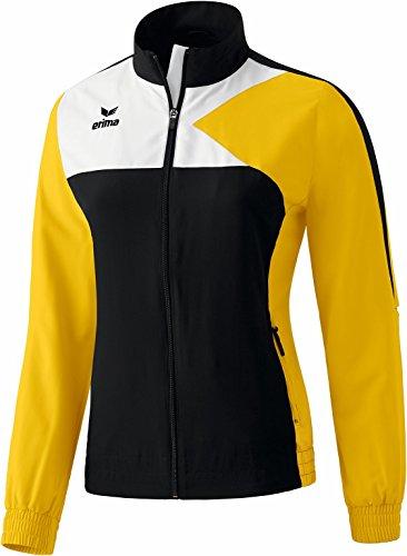 erima Damen Anzug Premium One Präsentationsjacke, Schwarz/Gelb/Weiß, 46