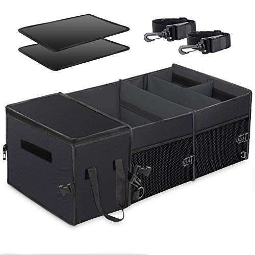 X-cosrack Car Trunk Organizer, Washable Large Capacity with Insulation Cooler Bag, Adjustable Multi Compartments Cargo Storage Organizer,To Suit Any In-vehicle,Collapsible(Black)