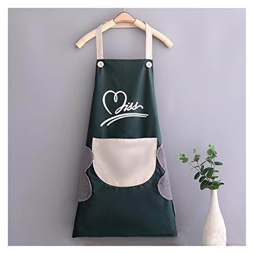Hogar a prueba de agua limpia a mano de poliéster impermeable Delantal de la cocina del amor del corazón delantal baberos for adultos Inicio delantales accesorio de cocina (Color : Green)