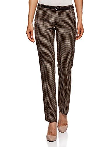 oodji Ultra Donna Pantaloni Basic con Cintura, Marrone, IT 42 / EU 38 / S