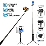 Bluetooth Selfie Stick with Tripod, Remote 59Inch MFW Extendable Monopod with Tripod Stand for iPhone 11/11PRO/X/XS max/XR/XS/8/7/6/Plus,Tablet,Samsung S7/S8/S9,Android,GoPro Cameras