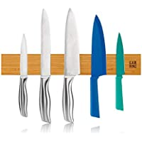 LARHN Barra Magnética para Cuchillos - 40 cm - Instalación Con o Sin Tornillos - Madera de Bambú - Iman Cuchillos de Cocina, Herramientas, Otros Utensilios y Organización en General
