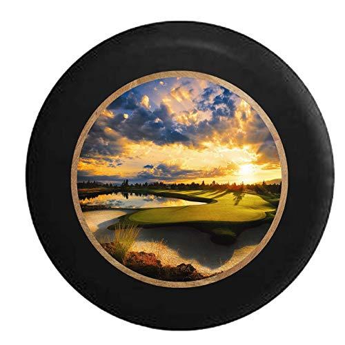 GOSMAO Golf Course tee Sand Water Trap Golfing Paradise Protector Solar Impermeable neumático Ajustable, Adecuado para automóvil, SUV, RV, Remolque, Rueda de neumático de 16 Pulgadas