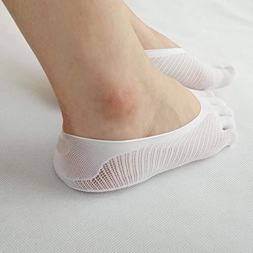 YHK 2 Pairs Women's Classic Toe Socks,Microfiber Ultra Low Cut Liner with Gel Tab (White)