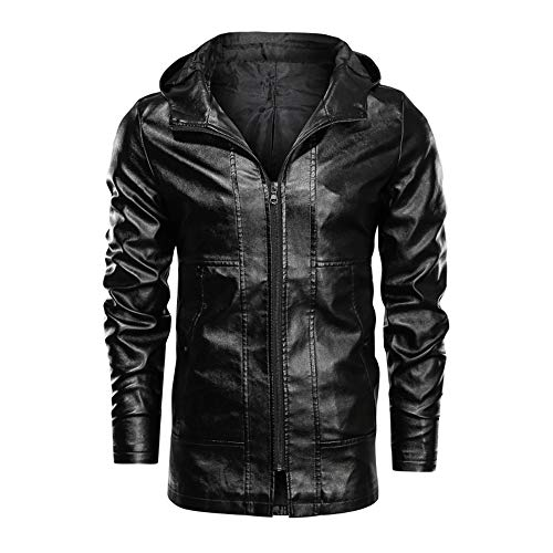 LONGBIDA Men's Slim Fit Motorcycle Mid-Long Faux Leather Jacket with Hood(Black,L)