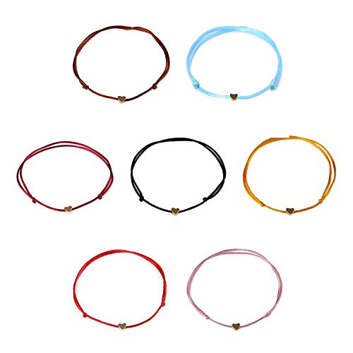 Fliyeong 7 Pieces Braided Bracelet, String Bracelets with Gold Plated Heart, Charm Handmade Adjustable Thread Rope Weave Anklet Durable and Practical