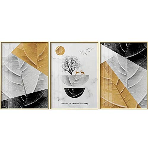 Abstract Gold White Black Leaves and Tree Painting Posters and Paintings Painting Wall Pictures for Living Room Decor No Frame-A_40X50cmX3