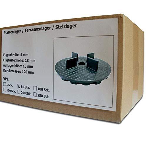 50 Stück SANPRO Gummi Plattenlager/Terrassenlager mit Fugenkreuz 4/18 mm