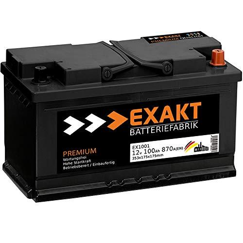 EXAKT Autobatterie 12V 100Ah Starterbatterie PKW KFZ Auto Batterie (100Ah)