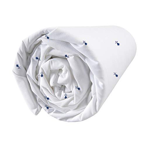 Matt&Rose Breizh, Drap-Housse lit 2 Places 100% Coton, 140x190/200 cm, Bretagne, Hermine, Mer (140x200 cm)
