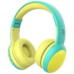 gorsun Kopfhörer für Kinder, Bluetooth Kinderkopfhörer mit 85 dB Lautstärkebegrenzung, Leichte Kinder Kopfhörer mit anpassbarer Kopfband - Grün
