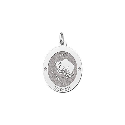Namesforever ovale hanger van 925 sterling zilver | motief stier sterrenbeeld dierenriemteken | gratis gravure op de voorkant