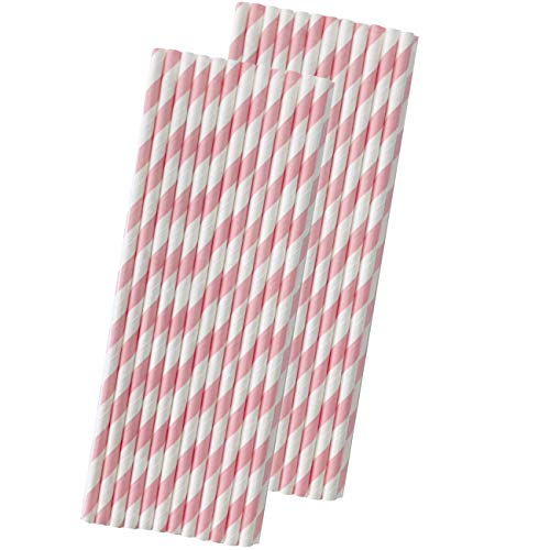 Striped Paper Straws - Light Pink White