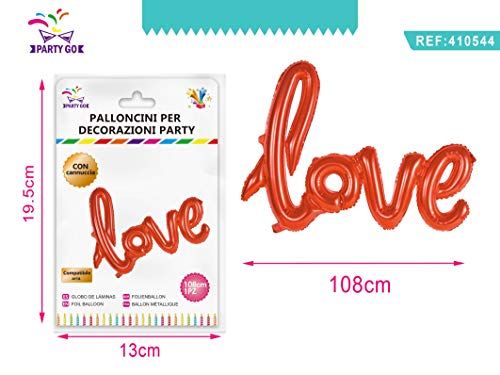 PartyGo Luftballon Mylar Sagomato Schriftzug Love Rot Valentinstag Anniversary 108 cm 410544