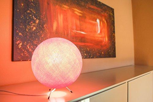CREATIVECOTTON LED handgearbeitete Stehleuchte mit Lampenschirm aus Baumwolle (Rosa, 25 cm)