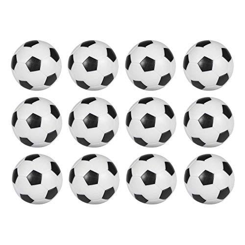 12 bolas de repuesto para futbolín, tamaño pequeño, 36 mm, color blanco y negro