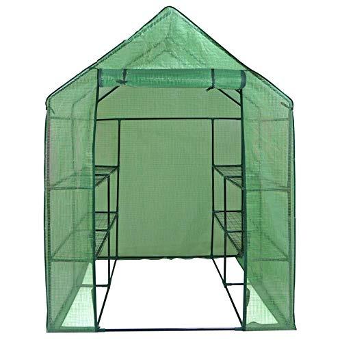 Mini Walk-in Greenhouse Indoor Outdoor -2 Tier 8 Shelves-...