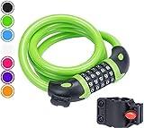 TuTuShop, lucchetto per bicicletta, con codice a 5 cifre, combinazione resettabile per bicicletta, moto, porta, passeggino, griglia, bagagli, Verde