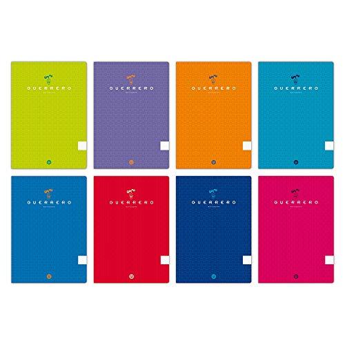 Unipapel 98421299. Pack 10 Libretas Tapa Blanda Guerrero, A4, Cuadrículas 4x4 mm, 90 Gramos, Colores Surtidos Aleatorios