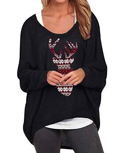 ZANZEA Femme T-Shirt Grande Taillle Tops Automne Irrégulier Manches Chauve-Souris Manches Longues Pull-Over Oversize Large Shirt pour Noel 00-Noir Wapiti XXL