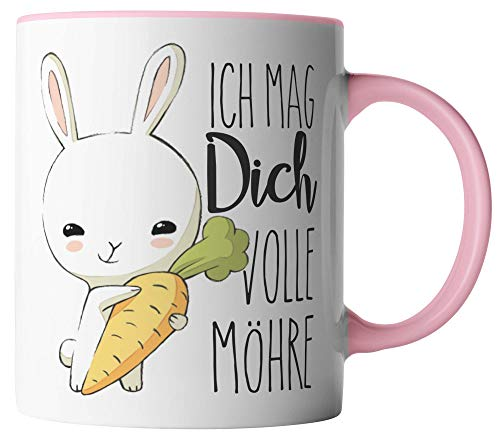 vanVerden Tasse - Ich mag dich volle Möhre - Hase mit Karotte - beidseitig Bedruckt - Geschenk Idee Kaffeetasse mit Spruch, Tassenfarbe:Weiß/Rosa
