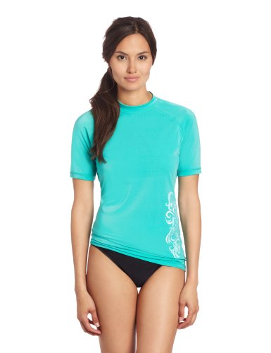 Kanu Surf Women's UPF 50+ Short Sleeved Active Rashguard & Workout Top, Breeze Lagoon, Large