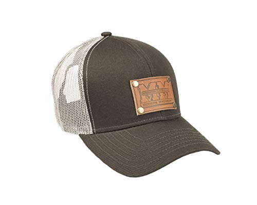 J&D Productions Minneapolis Moline Tractor Leather Logo Hat, Brown Mesh