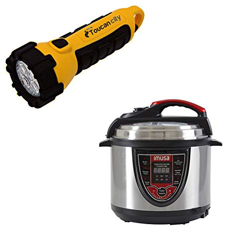 Toucan City LED Flashlight and IMUSA 5 Qt. Silver and Red Electric Pressure Cooker with Locking Lid GAU-80106