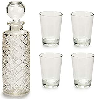 takestop® Botella de Cristal grabada con tapón Transparente + 4 Vasos chupitos chupitos chupitos chupitos