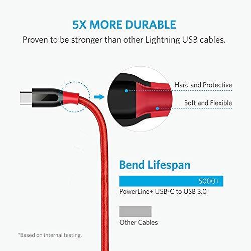 Anker [2 Pack Powerline+ 1,8m USB-C auf USB 3.0 A Kabel, Nylon Ladekabel für USB Typ-C Geräte, Kompatibel mit Galaxy S8, S8+, S9,S10,MacBook usw.(Rot)