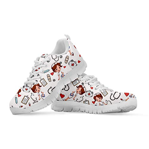 NETILGEN Zapatillas de correr ligeras para mujeres y hombres, zapatillas deportivas para exteriores, con malla suave, color Blanco, talla 36 EU