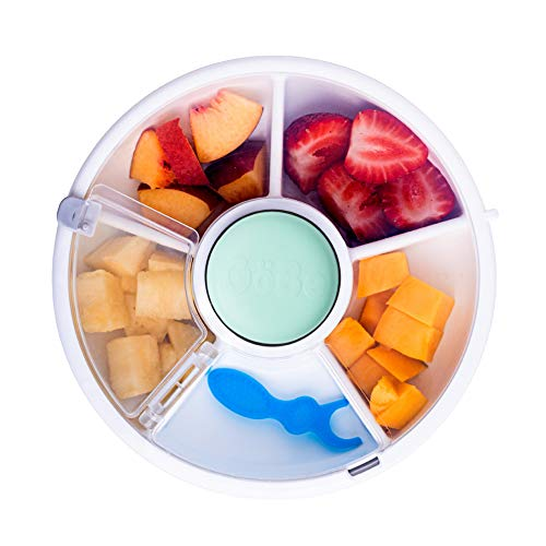GoBe Kids Snack Spinner, Reusable Snack Container with 5 Compartment Dispenser and Lid, BPA and PVC Free, Dishwasher Safe, Leakproof, Spill-Proof, for Toddlers, Kids, Home, On The Go